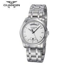Marca de lujo Reloj de Los Hombres Originales GUANQIN Relojes Mecánicos Dial Grande Impermeable Relogio masculino reloj Hombre Relojes de Pulsera de Acero