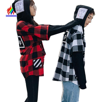 Red Plaid Shirts Lovers Couple Clothes Spring Preppy Style Hooded Tops Outerwear Letter Print Japan Korea Matching Couple Shirts Туалет