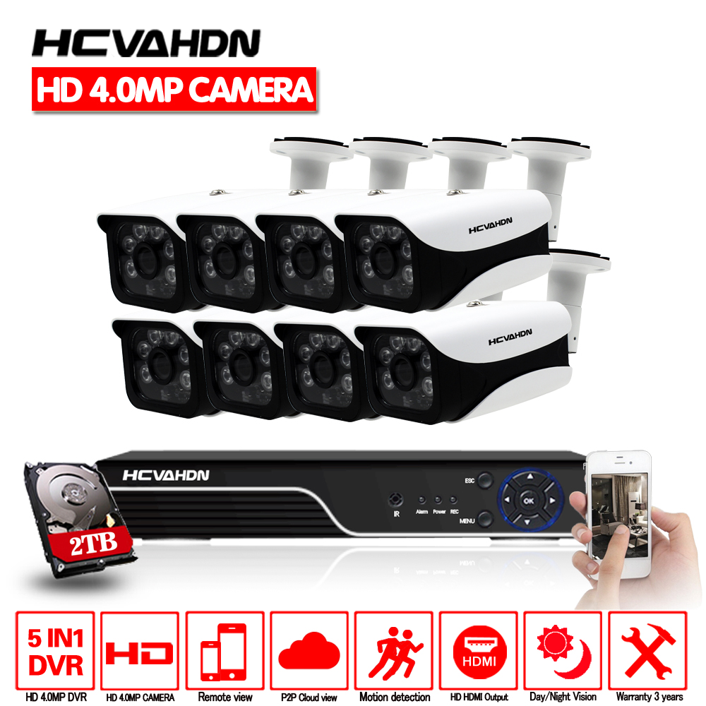 4mp HD CCTV System 8CH AHD DVR 8PCS 4.0mp 2560*1440 Security Camera indoor Outdoor Video Surveillance System Easy Remote View