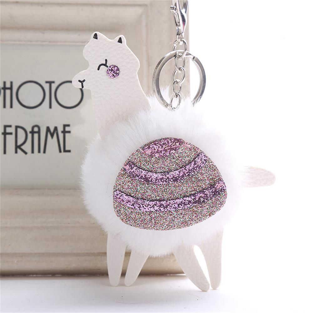 1 pc Bonito Fluffy Rabbit Fur Bola da Chave de Cadeia de Paetês de Couro PU Chaveiro Pompom de Alpaca Animal Charme Chaveiro Bugiganga