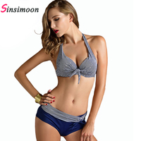 Stripe Swimwear Women Fashion Bikini Woman New Summer 2015 Sexy Swimsuit Bath Suit Push Up Bikini
