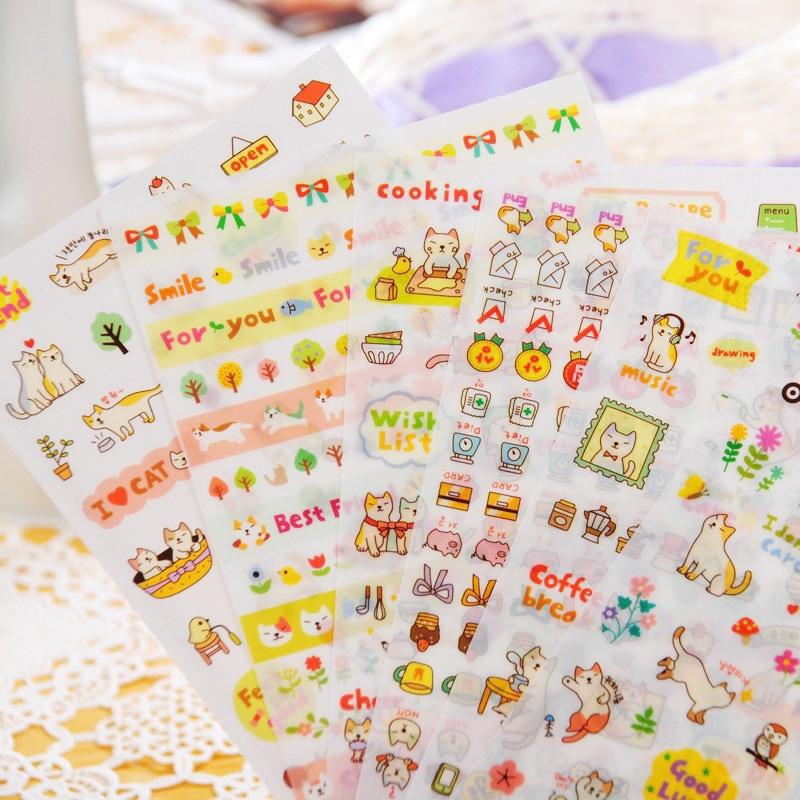 1set 6 Sheets Cute Cartoon Animals Cat Album Diary Calendar Sticker Label Scrap Booking For Note Book Paster