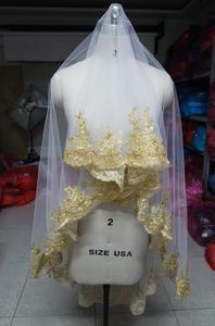 Image 5 - SHAMAIทองขอบลูกไม้Burgundy Red Wedding Veilsยาว 150 ซม.ความยาวชั้นเจ้าสาวงานแต่งงานWihtoutหวี