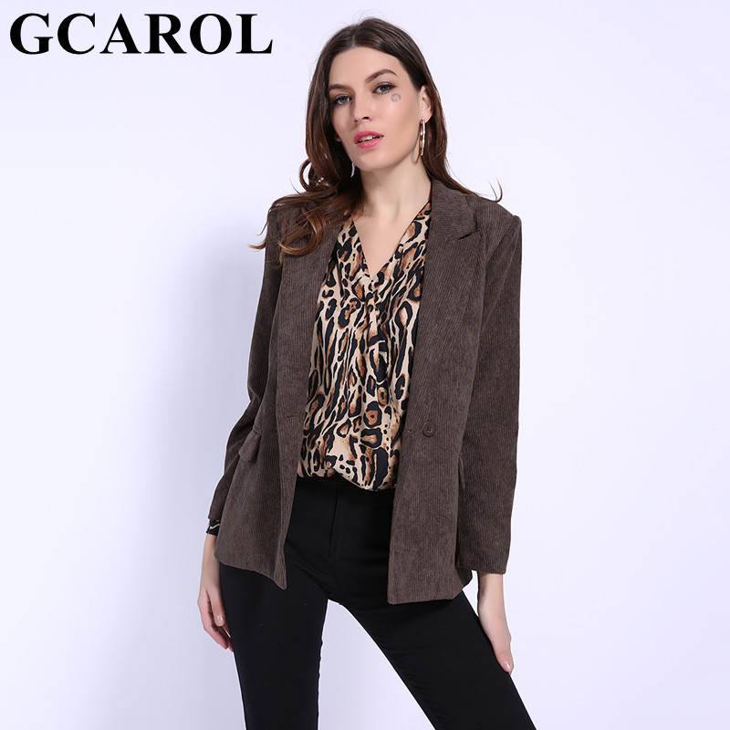GCAROL 2019 Early Spring Notched Women Corduroy Blazer 2 Pockets Double Breasted Elegant OL Work Suit Perfect Basics Outwear