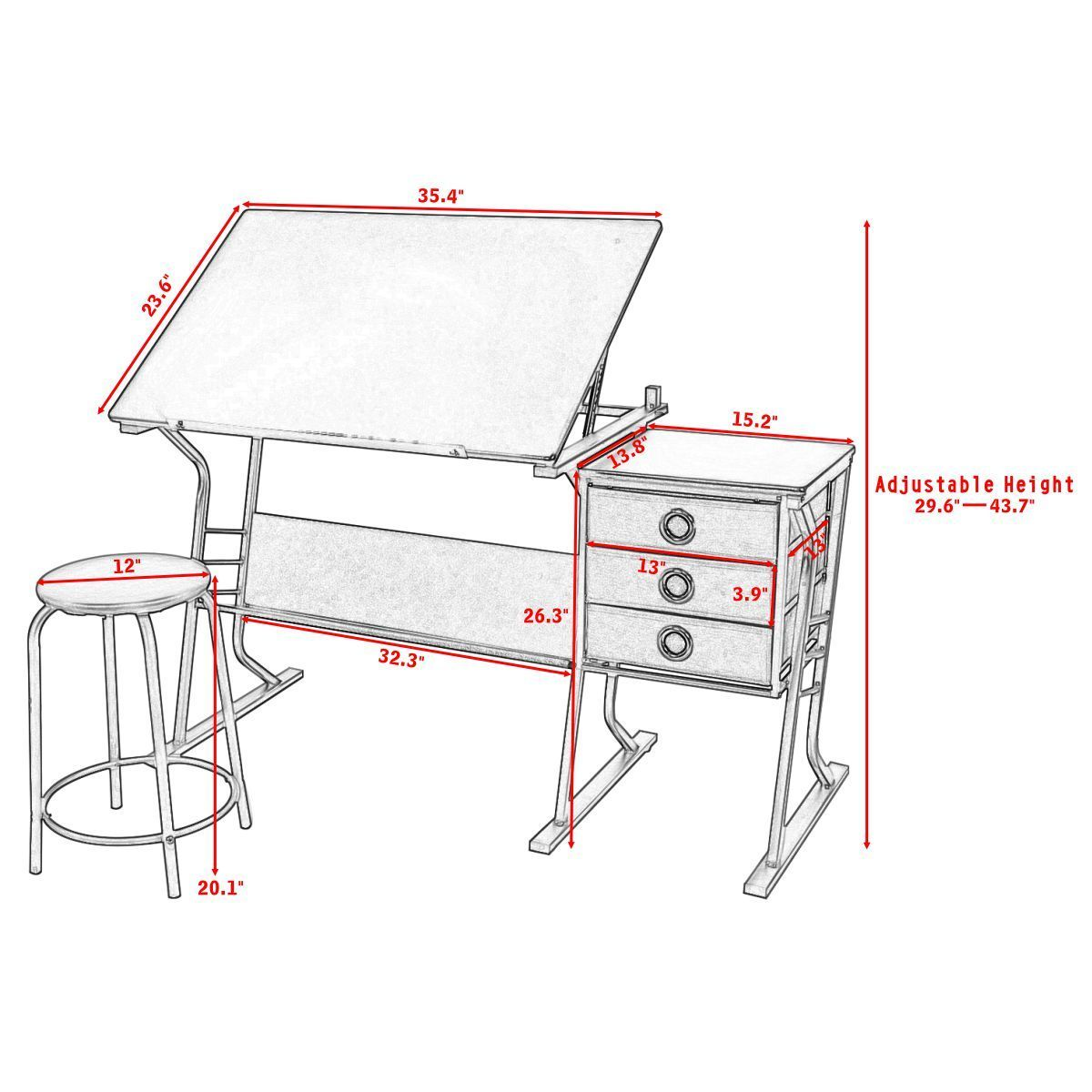 Giantex Drafting Table Modern Adjustable Drawing Desk Art Craft Hobby With  Stool U0026 Drawers Painting Furniture Set HW52825 In Laptop Desks From  Furniture On ...