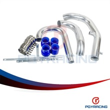 PQY STORE- FRONT MOUNT INTERCOOLER PIPING PIPE KIT FOR MITSUBISHI LANCER EVO 4 5 6 NEW BLUE PQY-PK3501