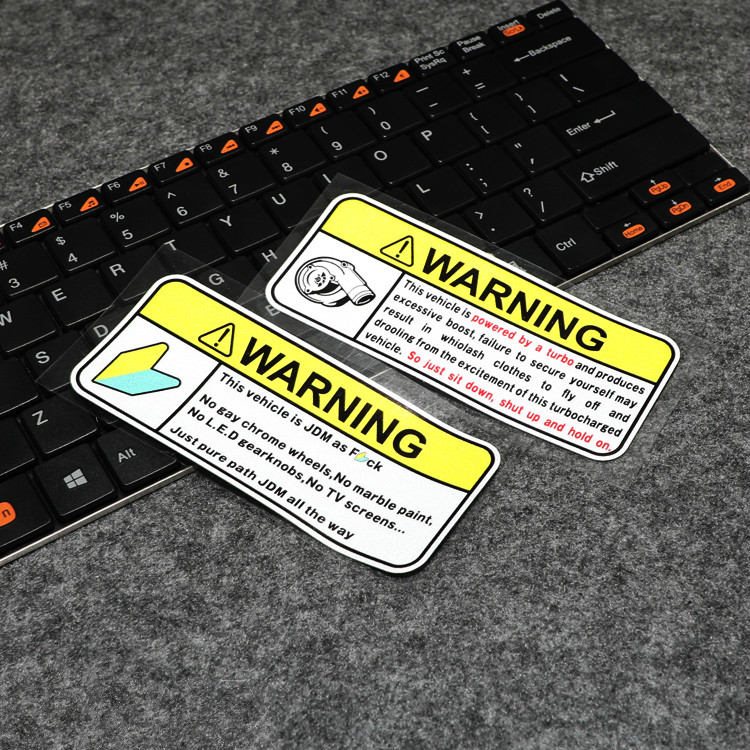 GalonDeco G050 Japanese JDM Car Modification Turbo Warning Remarks Car Stickers and Decals Auto Interior Reflective Stickers