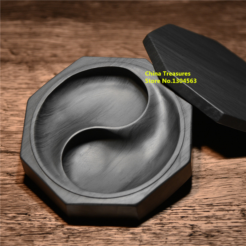 Tai Ji Tai Chi Chinese Inkstone For Grinding Ink Made Of Natural Stone Round Inkstone With Cover Paint Ink Stone Slab