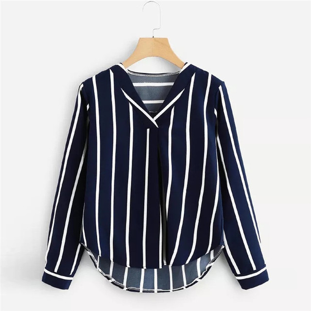 Stripe Shirt Women's Tops And Blouses  2