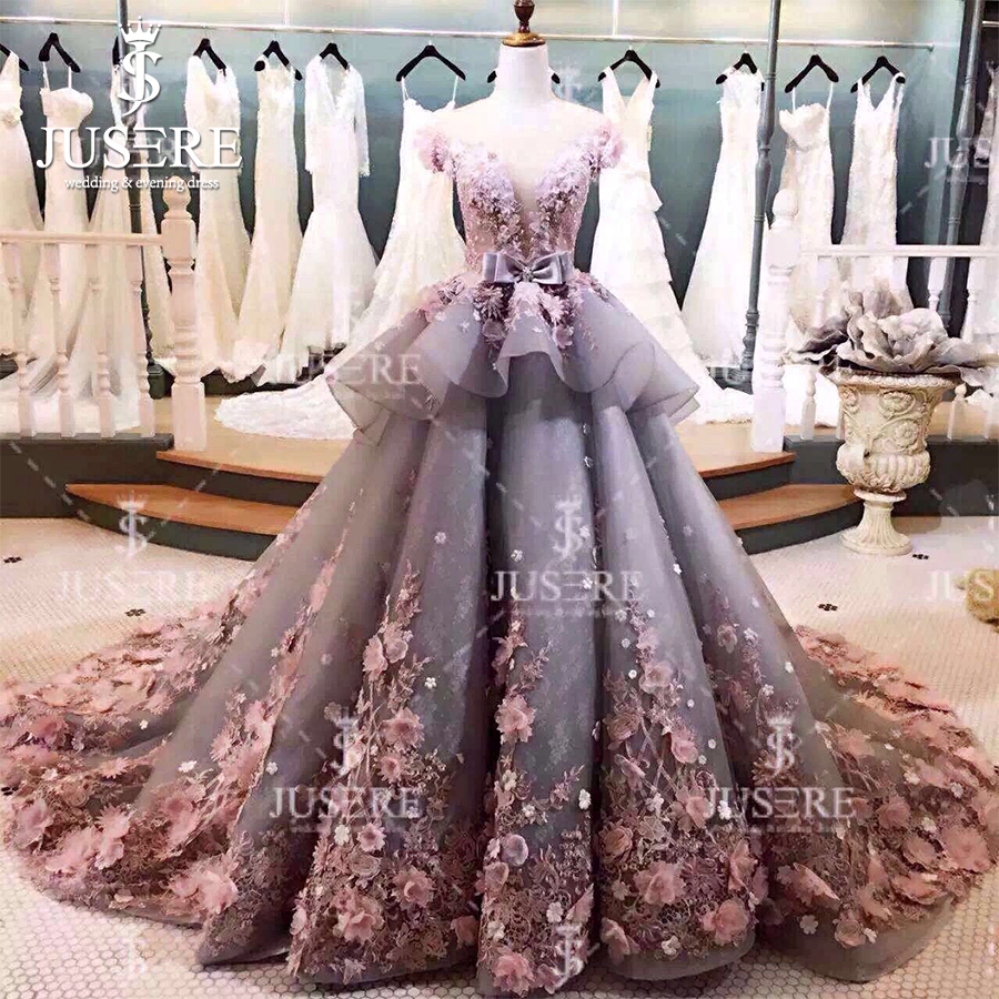 Jusere Puffy A line Short Sleeves Illusion Back Petals Beadings Lace Appliques Tiered Long Train Grey Pink   Evening     Dresses   2018