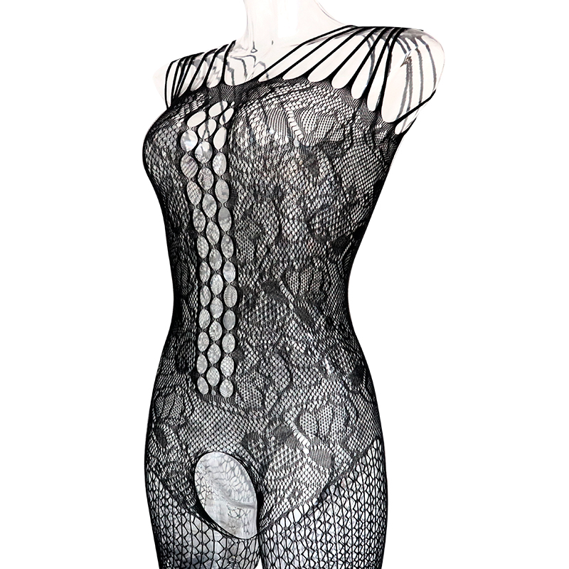 Hot New Sexy Much-loved Floral Motif Mesh Body Stockings One Size (Black)