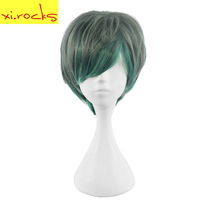 Xi. Rocks Short Curly Dark Green BOB Hair Multiple Color Lolita Wigs For Mens High Temperature Fiber hairstyle Cosplay Wigs