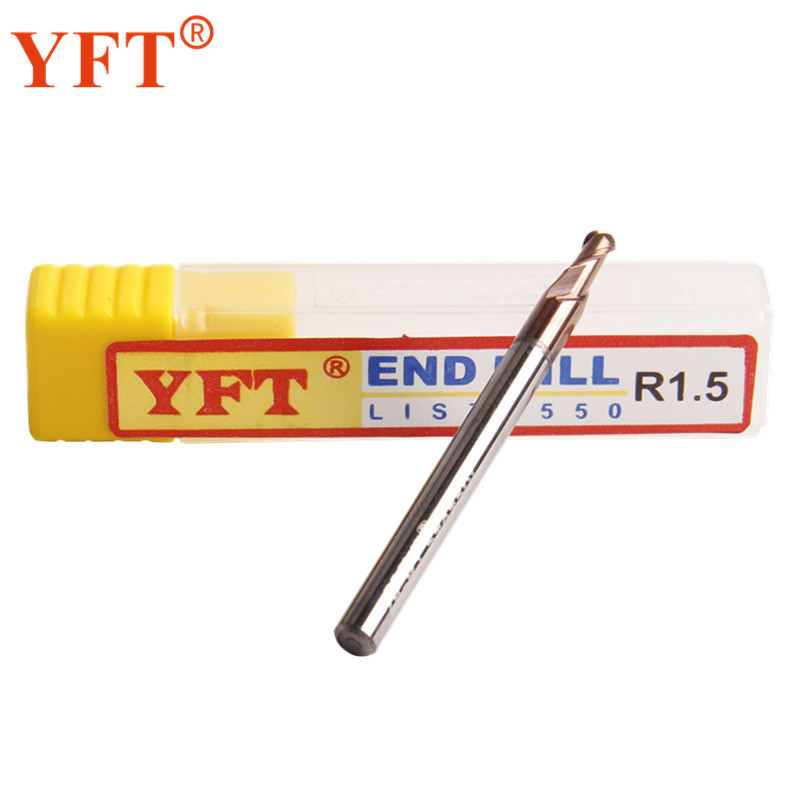 YFT 1PC End Mills Carbide Ball 2-blade Radius 1.5mm HRC 55 Degrees Tungsten Carbide Milling Cutters Router Bit CNC Tools yft carbide ball end mills radius 4mm router bit 2 blade hrc 60 milling cutter face cutter straight cnc tools