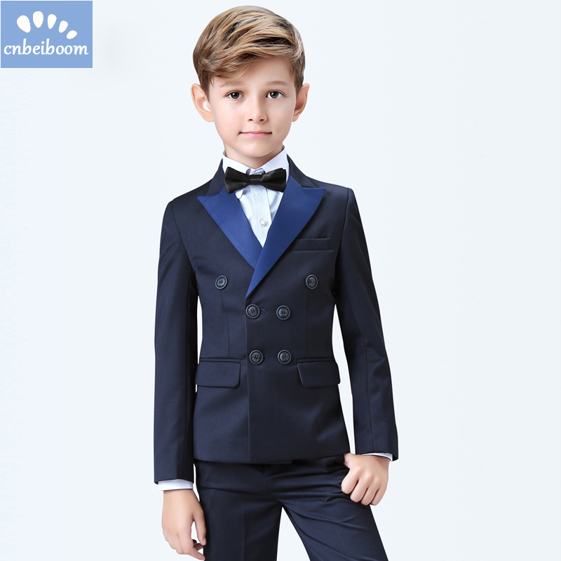 Baby Wedding Suits Navy Blue Black Tuxedos Suit 5/3 Piece Clothing Sets Formal Party Children High quality Clothes Suit For3-16T