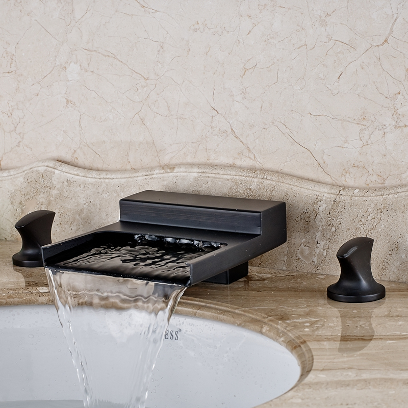 Oil Rubbed Bronze Bathroom 8 3 Hole Basin Faucet Widespread Waterfall Mixer Tap allen roth brinkley handsome oil rubbed bronze metal toothbrush holder