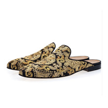 Mikishyda Men Golden Hand-Embroidered Canvas Shoes Slip-on Mules with Crystal Embellishments EU39-EU46 Casual Slipper