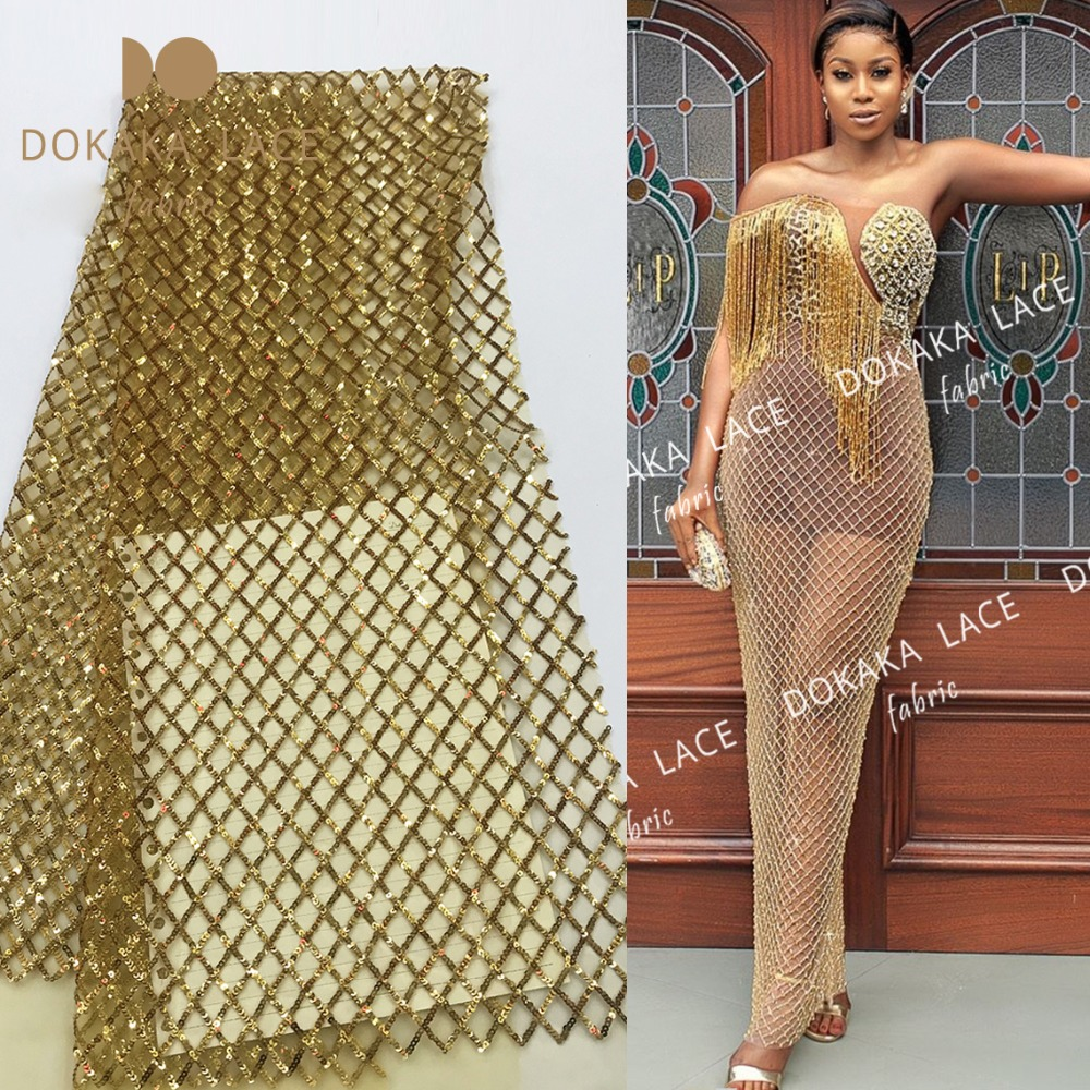 Gold Sequined Embroidered Tulle Mesh Lace Fabric For Wedding Material 2019 Latest Simple Cassic Design Sequins