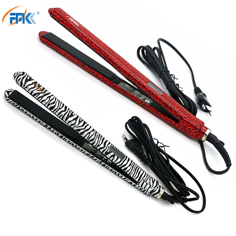 FMK Professional Straightening Irons Red Leopard Fast Heating Brush Beauty Hair Styling Tool EU Plug Tourmaline