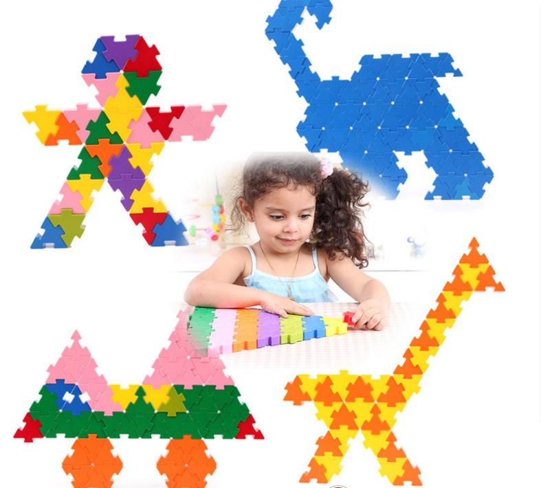 цены  132 PCs Children Brand Triangle match building blocks/self locking bricks plastic assemble blocks for Kids educational toys