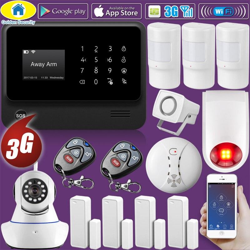 Золотой безопасности DIY G90B плюс + 3G gsm wifi IOS Android приложение управление домашней безопасности умный дом ПЭТ Иммунная сигнализация системы пож...