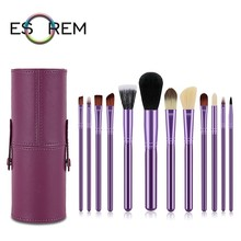 ESOREM 12pcs Purple Makeup Brushes Set With Waterproof Leather Cylinder Portable Cosmetic Brush Loose Powder Pinceaux Maquillage free shipping 2013 new arrival 12pcs natural goat hair purple makeup brushes sets with free pu leather cylinder dropship