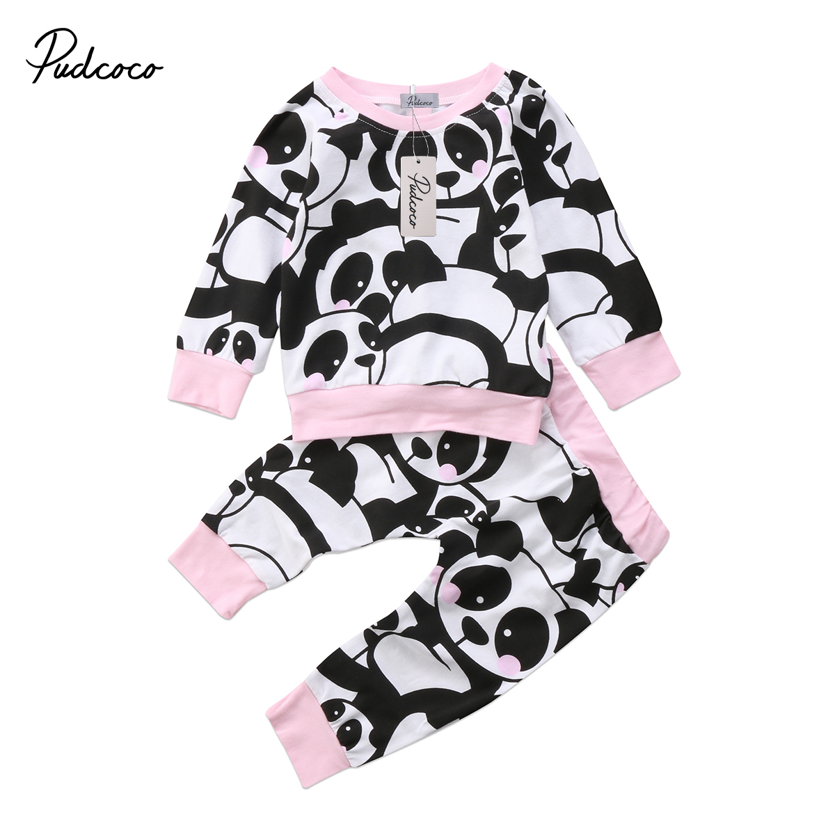 2pcs Newborn Baby Outfits Toddler Kids Baby Girl Panda Print T-shirt Pullovers Top Casual Legging Pants Girls Set