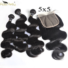 5x5 Lace Closure with Bundles Brazilian Human Hair Body Wave Bundles with Closure Pre Plucked Nature Color Remy Ross Pretty Hair ross pretty remy hair kim k closure 2 6 brazilian straight hair lace closure human hair pre plucked with baby hair
