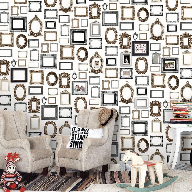 Vintage Picture Frame Gris Design Non woven Mural Wallpaper for ...