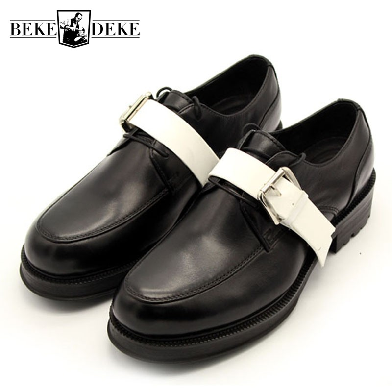 Fashion Brand Handmade Round Toe Lace Up Office Shoes Men Casual Panelled Leather Shoes Party Formal Shoes Men Plus Size 34-45 цены