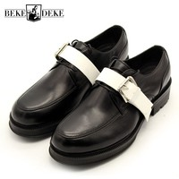 Fashion Brand Handmade Round Toe Lace Up Office Shoes Men Casual Panelled Leather Shoes Party Formal Shoes Men Plus Size 34 45