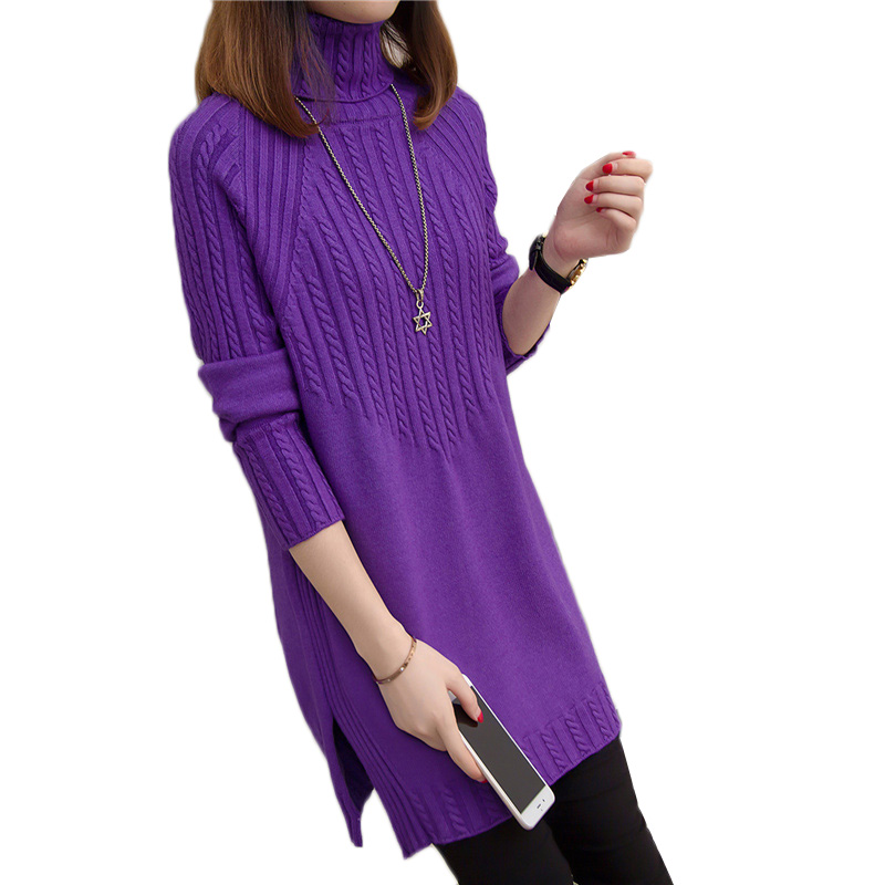 Winter Thicken Turtleneck Sweater Women Knitted Pullover 2018New Loose Long sleeved Jumper Bottom Sweater Casual Ladies Tops 100