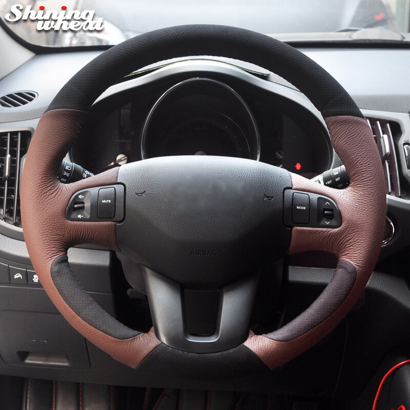 Shining wheat Black Genuine Coffee Leather Steering Wheel Cover for Kia Sportage Sportage 3 2011-2014 Kia Ceed 2010 цена