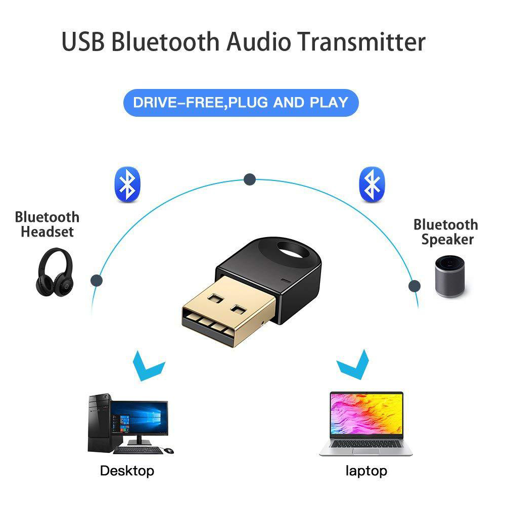 Stereo CSR 4.2 Free Driver Computer Mini Speaker Wireless USB Dongle Portable Bluetooth Adapter Receiver Car Transmitter Audio
