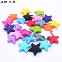 MHS.SUN 50pcs Chunky Silicone Beads 38x38mm Large Star beads Safty Baby Toddler Teether Toys DIY Necklace/Bracelet SL008(China)
