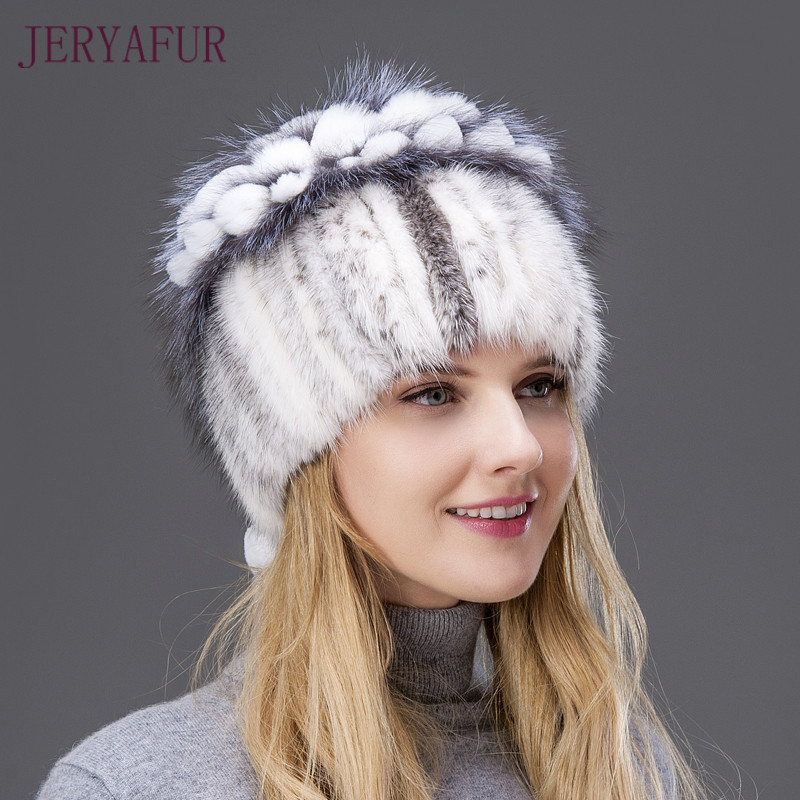 2017 Hot Sale Rabbit Fur Flower Shape Mix Fox Fur Cap Fashion Winter Warm Women Knitting Caps Real Mink hat Vertical Weaving wuhaobo the new arrival of the cashmere knitting wool ladies hat winter warm fashion cap silver flower diamond women caps