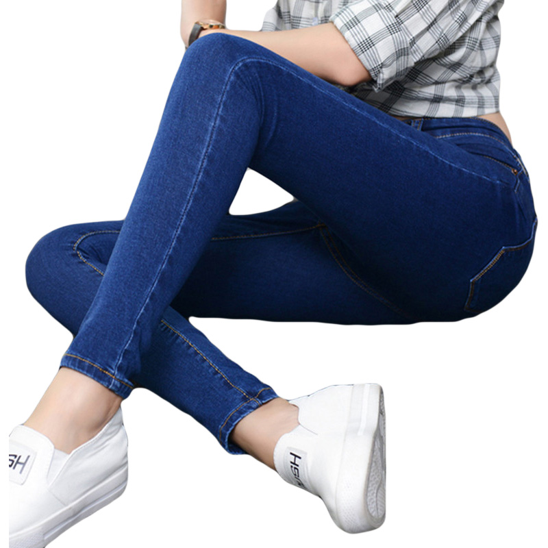 2017 New Fashion Jeans Women trousers High Waist Autumn Winter Stretch Black Plus Velvet Thicken Pencil Pants HM045