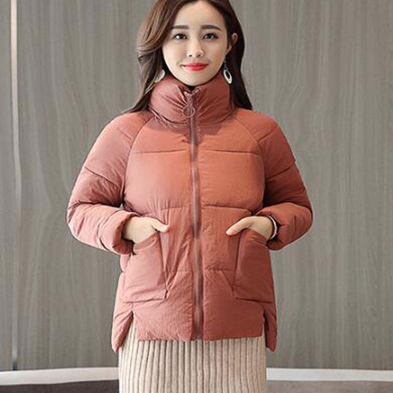 Chaud Femmes Solide Manteau Col Lâche Manches Épais Roulé Hiver Coton À Mince Longues Court 2018 tdERqwt
