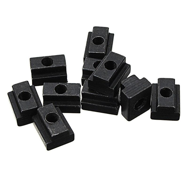 цена на 10pcs M6 T Slot Nuts Set Black Oxide Finish T-slots Nut For T Track New