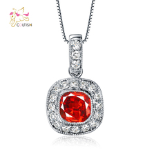 Top Quality Fashion Round Pendant Necklace Women Pop Charms White Gold Plated Red Ruby Stone Jewelry