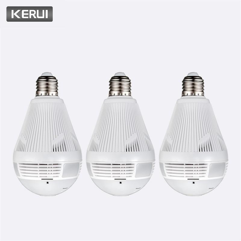 KERUI 3pcs lot Home Security Burglar Wireless 960P Bulb Fisheye Panoramic WIfi IP Camera 360 LED