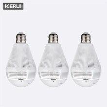 KERUI 3 יח\חבילה אבטחת בית פורץ אלחוטי 960P הנורה Fisheye פנורמי WIfi IP מצלמה 360 LED אור מנורת מעקב מצלמה