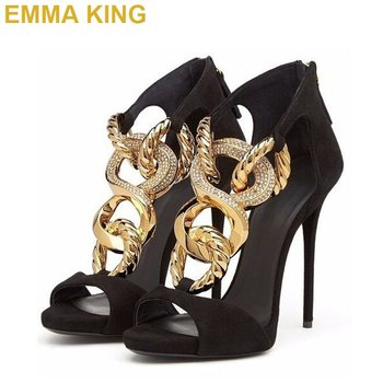 EMMA KING Gold Chain Women Gladiator Sandals Female Shoes 2019 Summer High Heels Shoes For Woman Plus Size 35-43 Drop Shipping