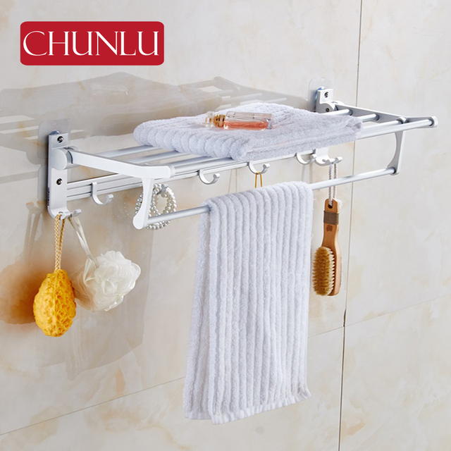 Chunlu House Aluminium Bathroom Folding Racks Bath Towel Holder Robe Hook Shower Room Chrome Shelf