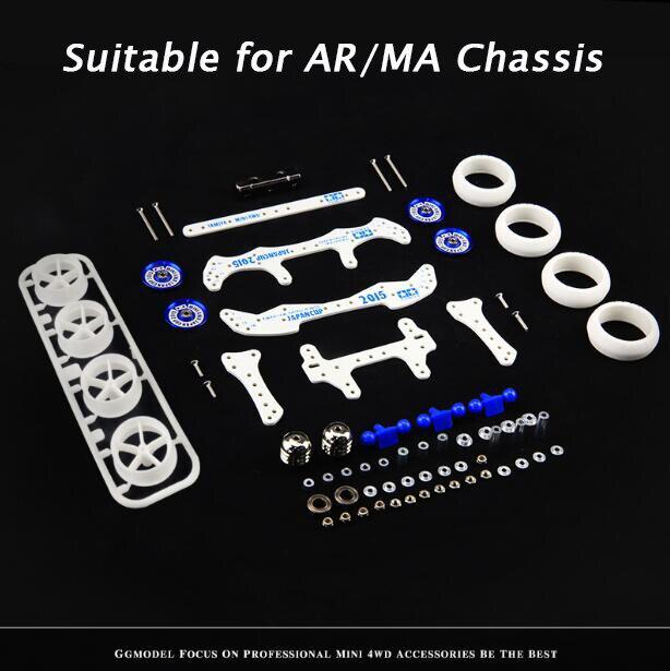 Livraison gratuite 1 Set auto-fait Mini 4WD RC voiture AR/MA châssis blanc bleu Fiber de verre pièces de rechange