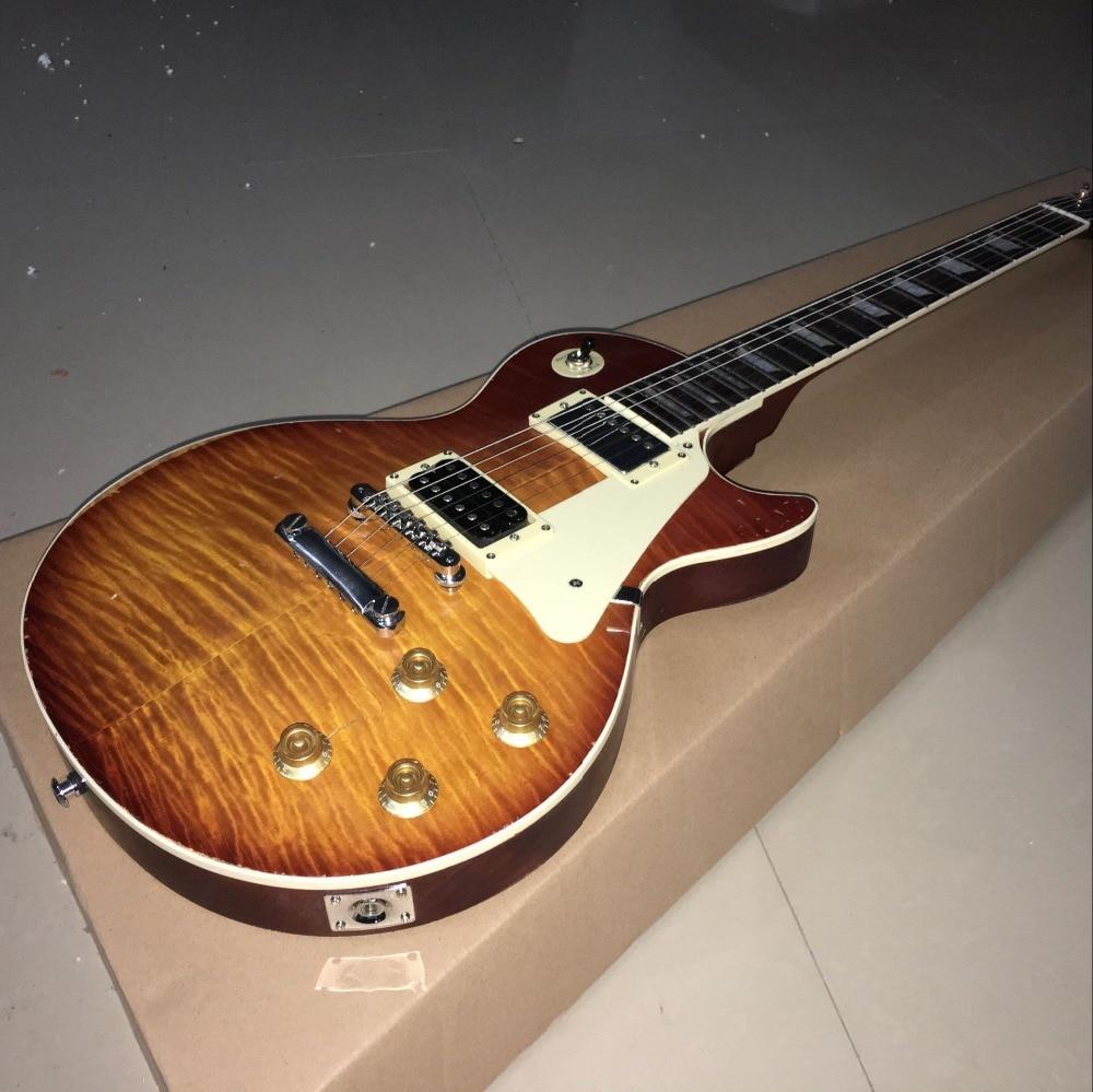 New standard Custom ,1959 R9 les Tiger Flame paul electric guitar Standard LP 59 Chibson guitarra,white pickguard epiphone ltd matt heafy signature les paul custom ebony