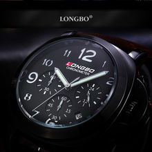 LONGBO 6pin Men Fashion Luxury Gerner Leather Big Dial Waterproof Quartz Wrist Watch Top Qualiry Men