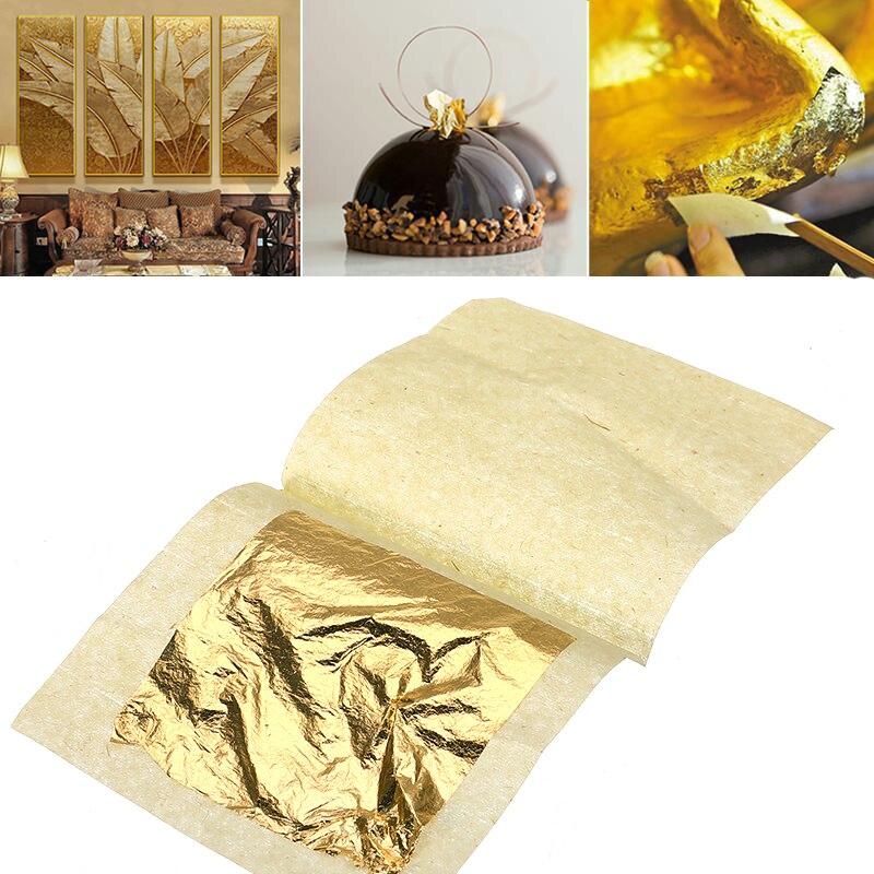 10/30/50/100 Pcs 24K Pure Genuine Edible Gold Leaf Gilding Foil Food Decor Ation Foil Golden Cover Cake Face Beauty DIY Craft