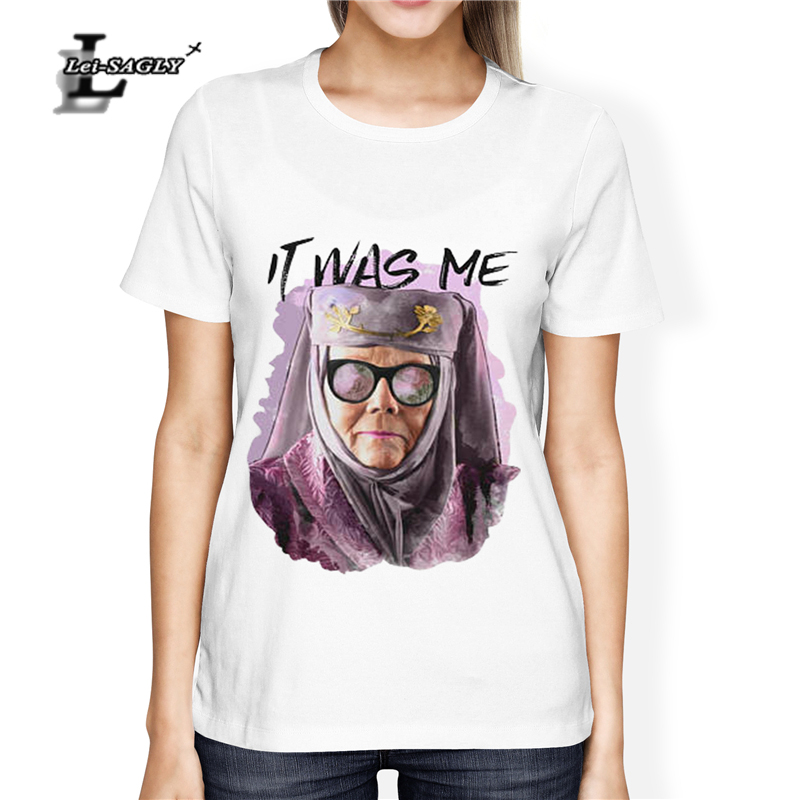 Lei-SAGLY Women T-Shirt Printed Tell Cersei It Was Me - Game Of Thrones T Shirt - Olenna Tyrell Shirt - Pop Culture T-Shirt.