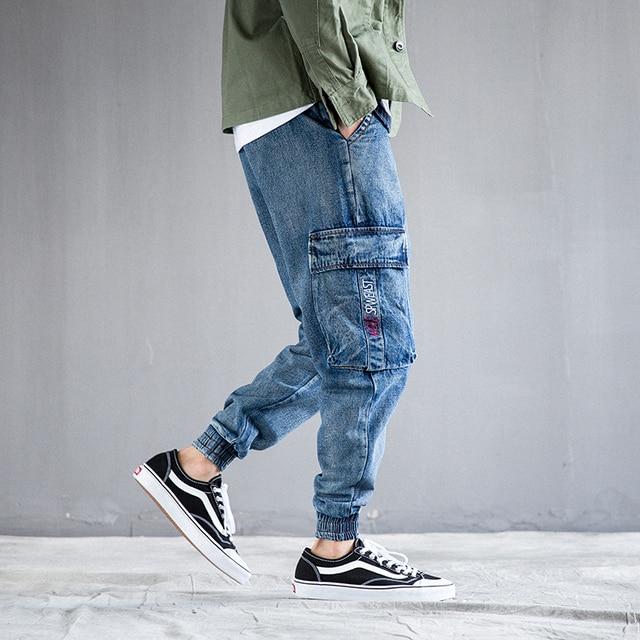 Fashion Streetwear Jogger Jeans Men Blue Color Loose Fit Punk Style Tapered Pants Big Pocket Cargo Pants Hip Hop Jeans Men