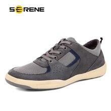 SERENA Cuero Partido de Los Hombres con cordones de Los Hombres zapatos de fondos Blandos de Pisos Zapatos Hombre Transpirable Hombres de Malla de Aire Zapatos casuales Plus-size9171